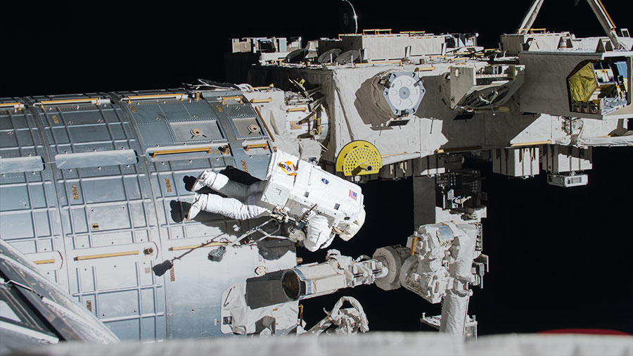 NASA astronaut Jack Fischer worked to install wireless antennas outside the Destiny lab. The spacewalk's main purpose was to replace a failed data relay box. (Photo: courtesy- nasa.gov)