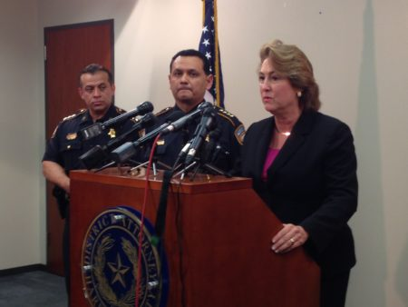 Harris County District Attorney Kim Ogg (first from the right) announced at a press conference that the grand jury selected for the John Hernandez case issued an indictment of murder for Terry and Shauna Thompson. Harris County Sheriff Ed Gonzalez (second from the right) also attended the press conference.