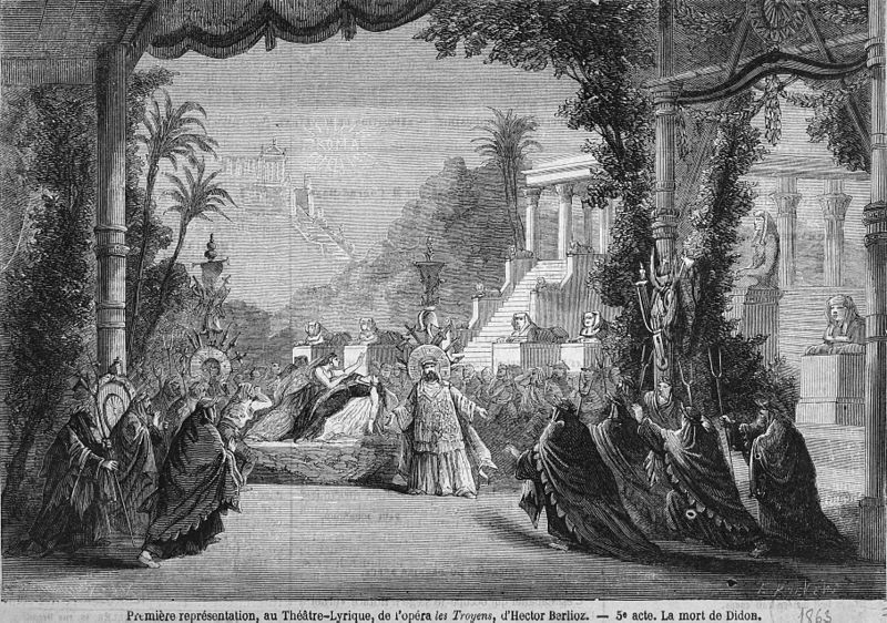 Illustration of the staging of the last act for the premiere of Berlioz's Les Troyens