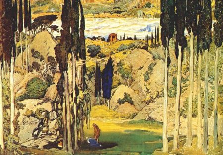 Set design for the premiere of Daphnis and Chloe, by Léon Bakst