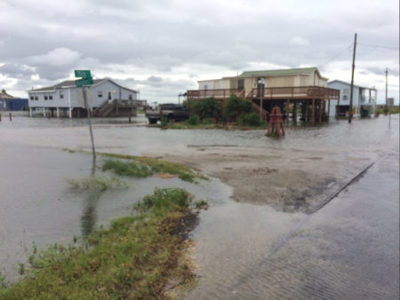 3:30PM 6/21/2017: Street flooding on the west side of Bolivar Peninsula