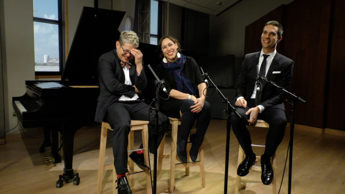 Members of the group Pink Martini in Houston Public Media's Geary Performance Studio.