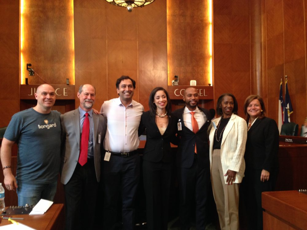 From left to right:  John Reale, co-founder and CEO of Station Houston and Task Force chair; Daniel Jacobs, NASA executive liaison; Aziz Gilani, partner at Mercury Fund; Amanda Edwards, City Council Member and Task Force initiator; Paul Cannings, managing partner at RPH; Carol Abel Lewis, professor at Texas Southern University; and Lori Vetters, executive director, president and CEO of the Houston Technology Center. All of them are members of the Mayor's Task Force on Innovation and Technology.