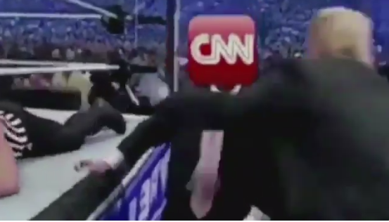 Trump posts mock video of him body-slamming CNN