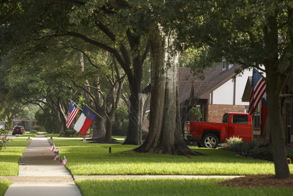 Residents have put up flags for the forth of July In a neighborhood on the south side of Pasadena, Texas, July 1, 2017.