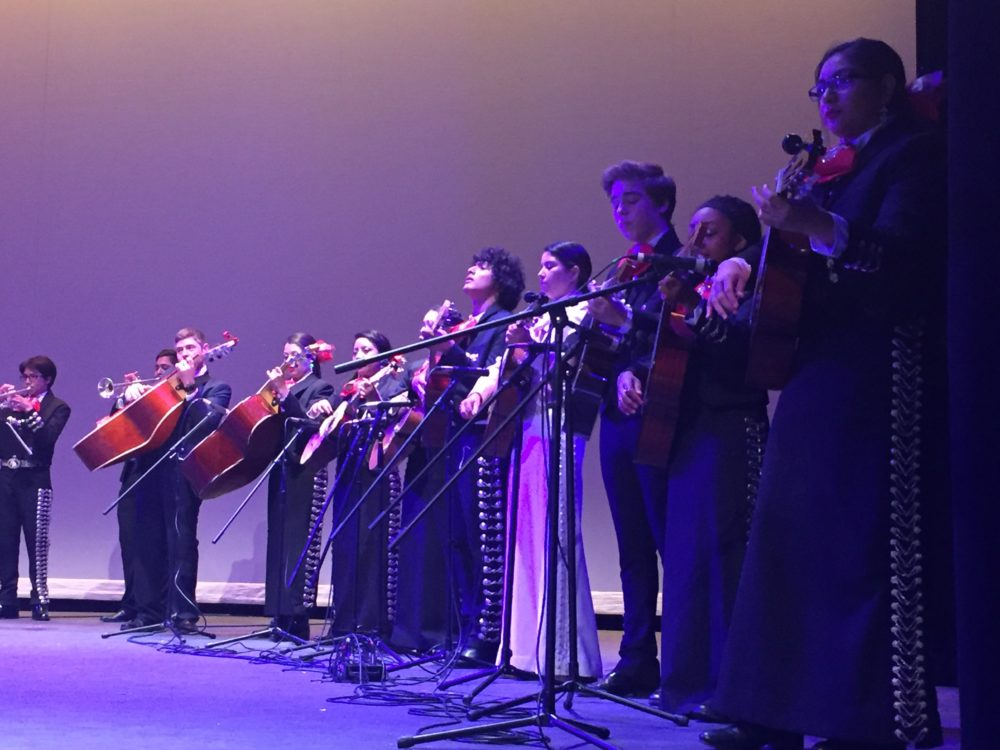 At one of the last concerts of the school year, HSPVA's two mariachi groups put on a moving concert. Jay Aiyer, at Texas Southern University, said that the strength of the mariachi group reflects the investment in the arts in middle school. Several middle schools in Houston have mariachi programs.