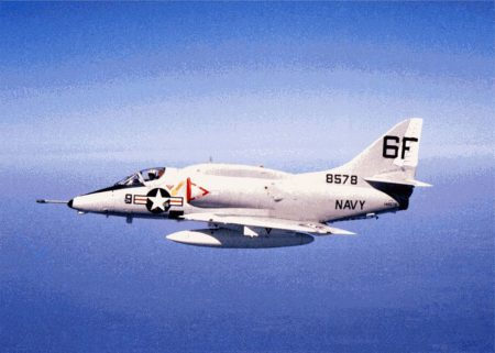 A Douglas A-4L Skyhawk (BuNo. 148578) of attack squadron VA-203 Blue Dolphins, stationed at Naval Air Station Jacksonville (Florida, USA), in 1970.