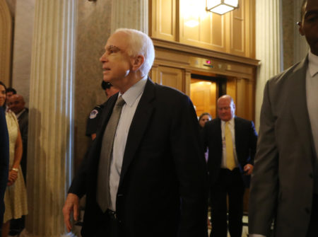 Sen. John McCain, R-Ariz. arrives on Capitol Hill in Washington, Tuesday, July 25, 2017, as the Senate was to vote on moving head on health care with the goal of erasing much of Barack Obama's law.