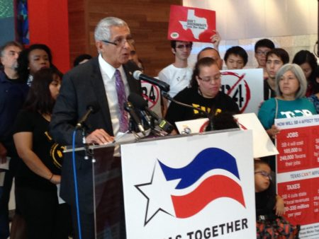 Houston City Council Member Robert Gallegos speaks at a press conference urging Texas lawmakers to repeal SB4