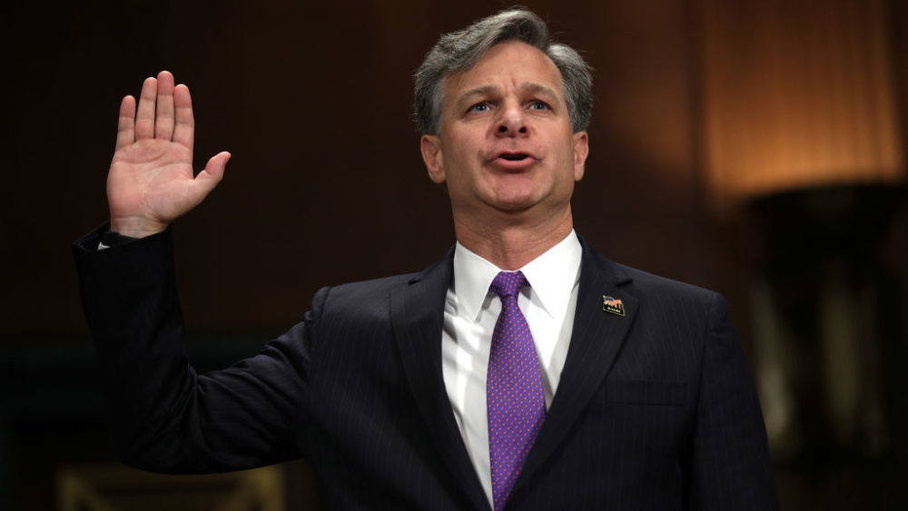 Christopher Wray is sworn in during the confirmation hearing on his nomination for FBI director before the Senate Judiciary Committee last month.