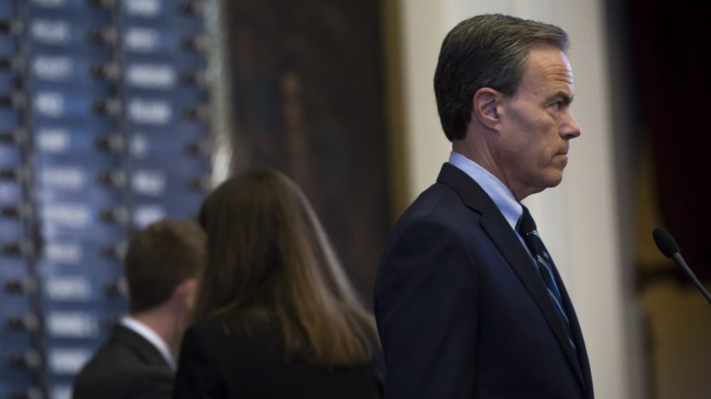 Texas House Speaker Joe Straus at the state Capitol in April 2017. Straus opposes efforts by other powerful Republicans to pass a 'bathroom bill' that would affect transgender people.