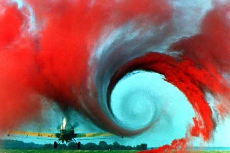 Turbulence in the tip vortex from an airplane wing. Studies of the critical point beyond which a system creates turbulence were important for chaos theory, analyzed for example by the Soviet physicist Lev Landau, who developed the Landau-Hopf theory of turbulence.