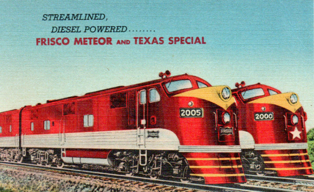 Postcard depiction of two popular Frisco Railroad passenger trains, The Meteor and The Texas Special. The Meteor is at left. Both trains were equipped with diesel locomotives and brand new line paint schemes in 1948.