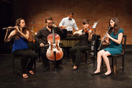 Quintet with flute, cello, percussion, violin, and clarinet