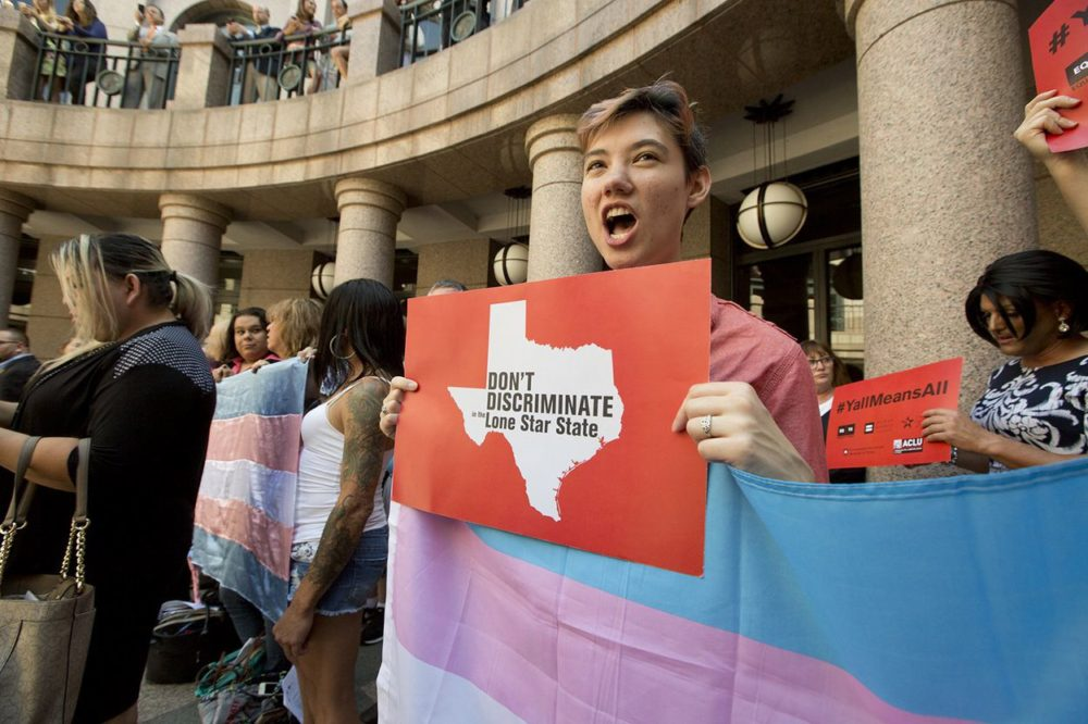 Protesters rally in favor of transgender rights at the Texas Capitol
