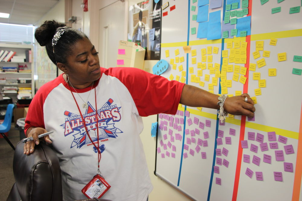 "Shundra Mosley is the instructional specialist at Kashmere Gardens Elementary. In the school's ""war room,"" they use a data board to see how students are doing in different subjects."