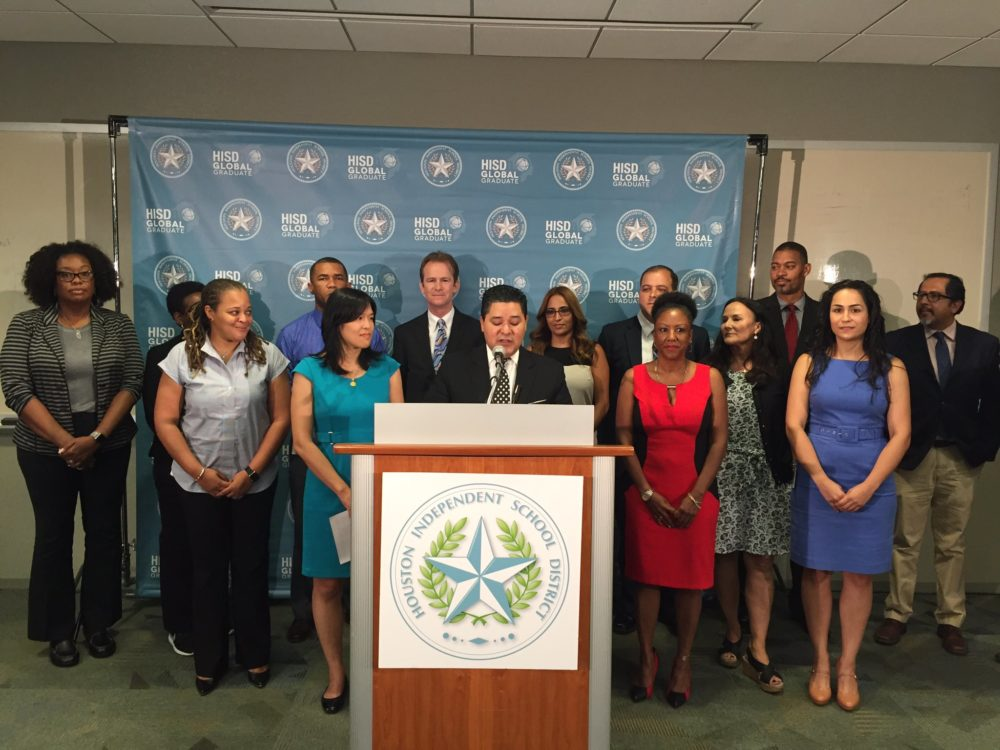 HISD Superintendent Richard Carranza speaking at press conference at the district.