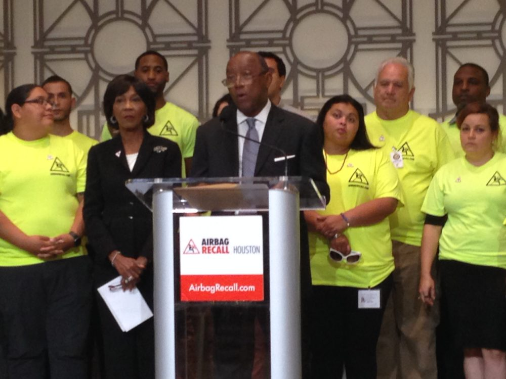 Mayor Sylvester Turner held a press conference at Houston's City Hall to talk about the progress made by a local coalition that is alerting residents of the Houston region who may own vehicles that may need their airbags checked due to the recall issued by Takata.