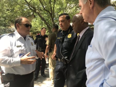Houston Police Chief Art Acevedo and Mayor Sylvester Turner getting an update from various agencies on the federal investigation taking place at Albans Street.