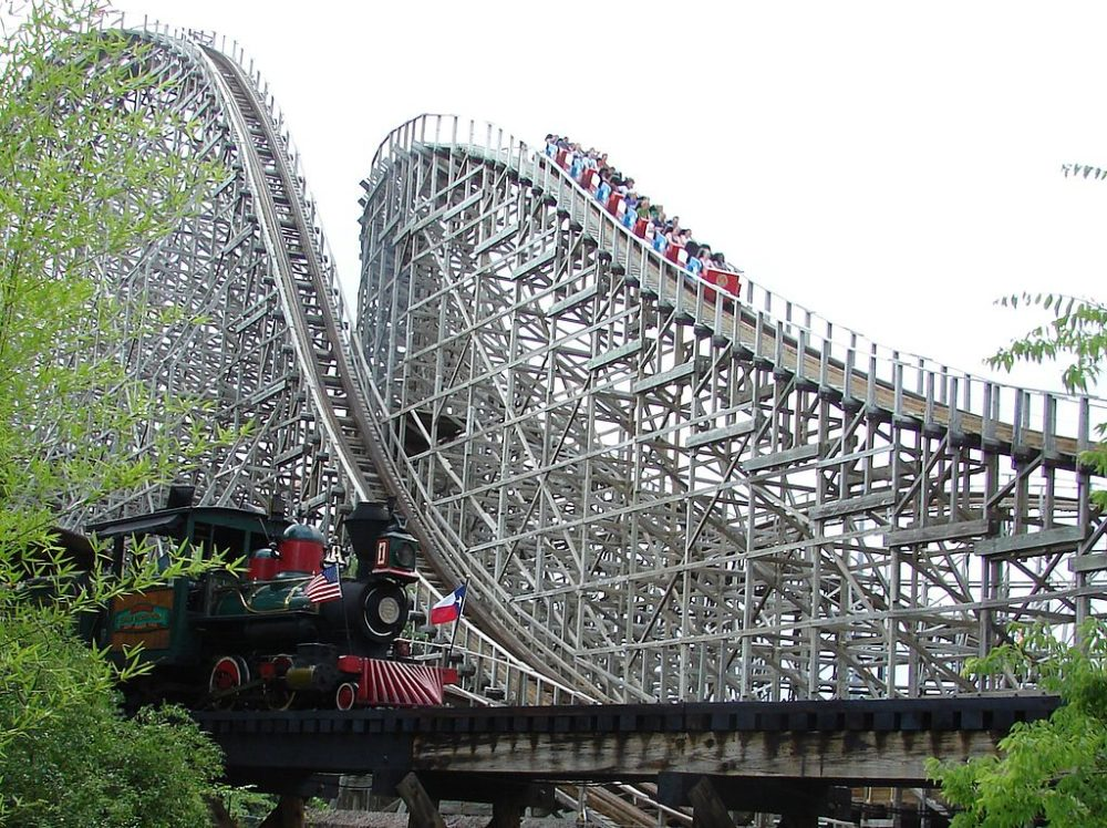 The original Texas Giant roller coaster at Six Flags Over Texas in Arlington, Texas.