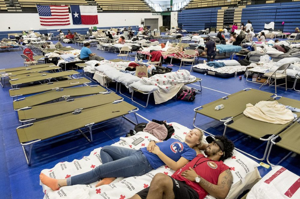 Tesa Rutherford, 21, and her fiancé Brandon Olivarez, 22, recently moved to Rockport, Texas, where they lost everything to Hurricane Harvey. They took shelter at the Wilhemina Delco Center emergency hurricane shelter in Austin on Tuesday, August 29, 2017. The optimistic couple plans on going back to Rockport to rebuild their lives and their home.