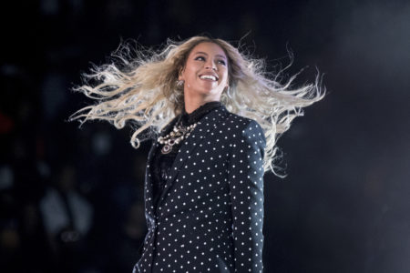 In this Nov. 4, 2016 file photo, Beyonce performs at a Get Out the Vote concert for Democratic presidential candidate Hillary Clinton in Cleveland. Beyonce, Blake Shelton, Barbra Streisand and Oprah Winfrey will headline a one-hour benefit telethon to benefit Hurricane Harvey victims that will be simulcast Sept. 12, 2017, on ABC, CBS, NBC, Fox and CMT.