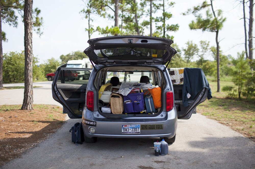 Sergio Gil Jr. and Susan Arawley's car is packed up with all of their supplies. The two are from Pearland, Texas. In response to Hurricane Harvey, the Texas State Parks opened their doors to evacuees free of charge through the month September. As of Labor Day, about 7,500 individuals have taken shelter at Texas State Parks.