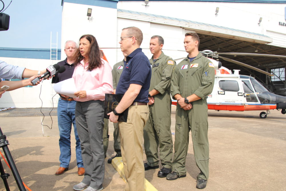 Elaine Duke, acting secretary of the Department of Homeland Security, talked to the media at Ellington Airport and emphasized there are more than 30,000 federal employees working on the recovery process in Texas.
