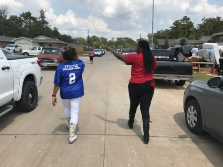 HISD Trustees Rhonda Skillern-Jones and Wanda Adams visited a northeast Houston neighborhood after Harvey, where homes and schools were damaged.