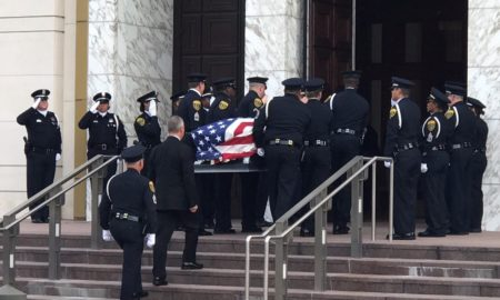 Funeral services for Houston Police Sergeant Steve Perez are being held this morning at the Co-Cathedral of the Sacred Heart.