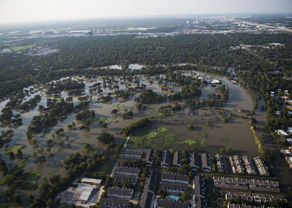 An aerial view of the flooding caused by Hurricane Harvey in Houston, Texas, Aug. 31, 2017. Hurricane Harvey formed in the Gulf of Mexico and made landfall in southeastern Texas, bringing record flooding and destruction to the region. U.S. military assets supported FEMA as well as state and local authorities in rescue and relief efforts.