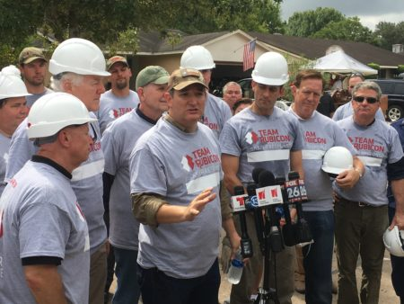 U.S. Senator Ted Cruz and U.S. House Speaker Paul Ryan participated in a press conference in a Friendswood subdivision that was hardly hit by hurricane Harvey.