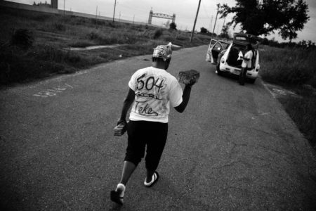 In this photo from 2007, Talitha Halley visited the lower Ninth Ward for the first time after Katrina and took the remaining bricks from her former house.