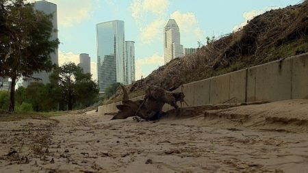 Debris and sediment covered Buffalo Bayou Park after the flood waters receded.