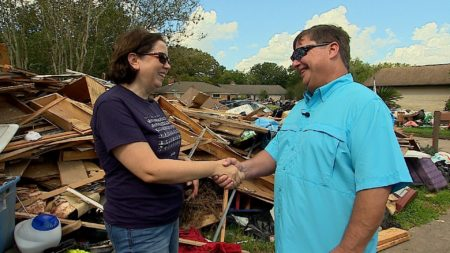 Current house owner Jennifer Hunt meets former house owner Mike Babin for the first time, after a hidden message from Babin was found during Harvey renovations.