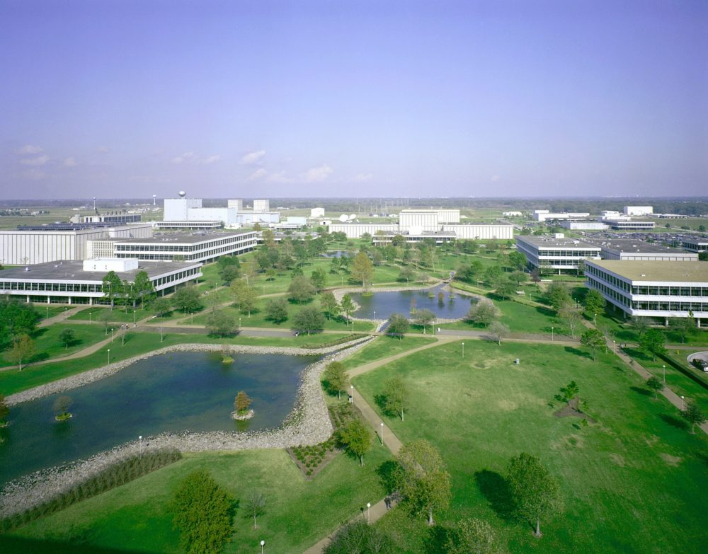 Houston's Johnson Space Center campus retains soil and green space that can absorb rainwater.