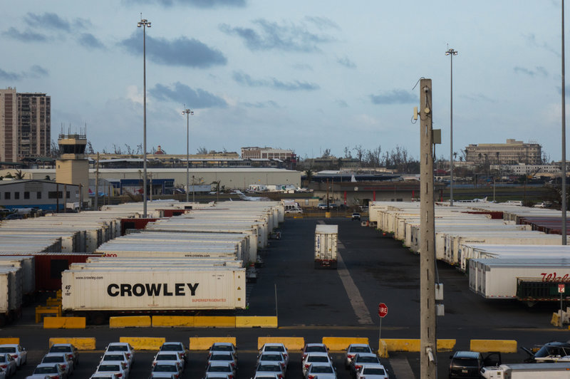 Thousands of aid containers stuck in Puerto Rico port