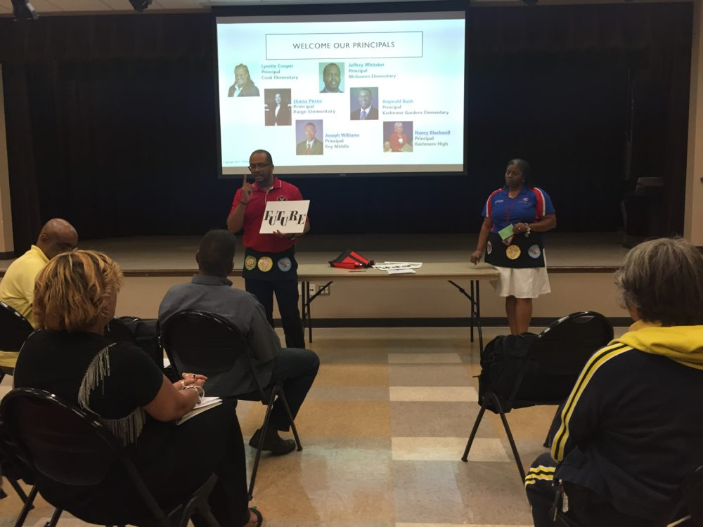Principals and school leaders from schools in the Kashmere Gardens neighborhood share updates about their schools at a monthly community meeting.