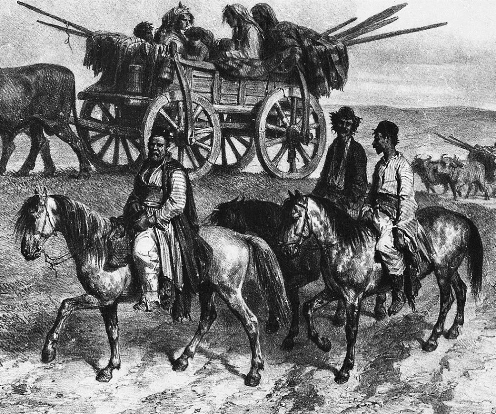 Gypsy family on tour in Moldavia, by Auguste Raffet