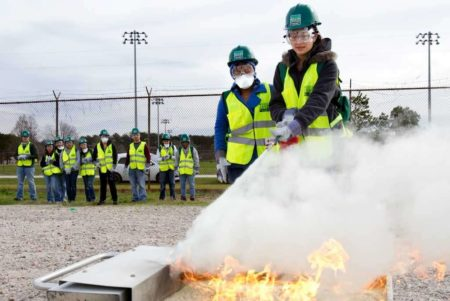 Civilians who take the CERT course learn about topics such as fire safety and how to put out small fires.