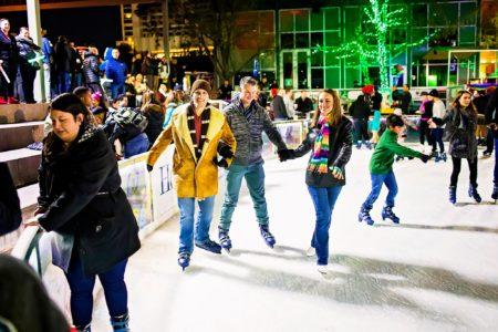 Discovery Green's winter season includes a wide variety of activities on The ICE, the largest outdoor ice skating surface in the southwest.
