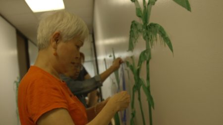 A tape-art workshop at the Chinese Community Center.