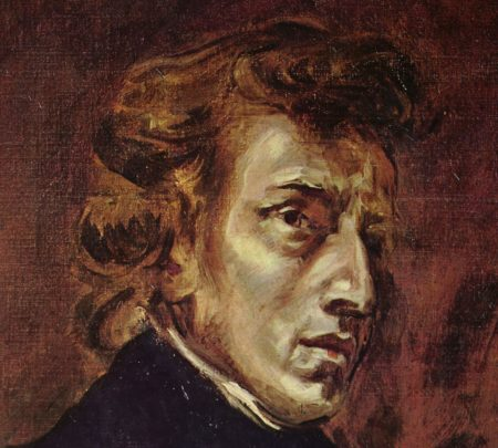 Portrait of Frédéric Chopin by Eugène Delacroix, oil on canvas, 1838.