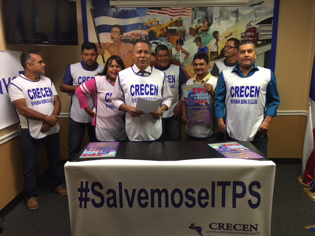 This file photo shows Teodoro Aguiluz (center), founder and executive director of Houston-based Central American Resources Center (CRECEN, by its Spanish acronym), speaks at a meeting organized to advocate for maintaining TPS.