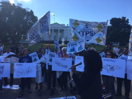 Pro-immigration activists rally in front of the White House, in Washington D.C., to ask the federal government to maintain the Temporary Protected Status (TPS) designations.