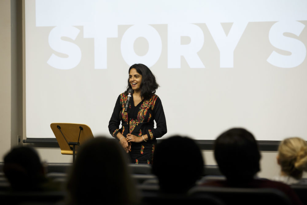Anita Wadhwa speaks at Houston Public Media's Story Slam in Houston, Wednesday Nov. 8, 2017. (Photo by Michael Stravato)
