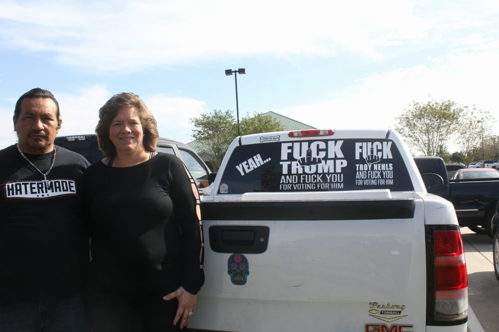 Woman with crude anti-Trump sticker adds new decal to her truck