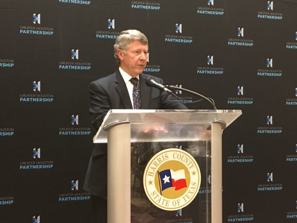 Harris County Judge Ed Emmett during a press conference after delivering his annual state of the county address in Houston on November 28, 2017.