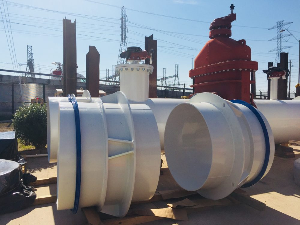 This photo shows new valves that the City of Houston's Department of Public Works and Engineering will install in its Southwest Water Pump Station.