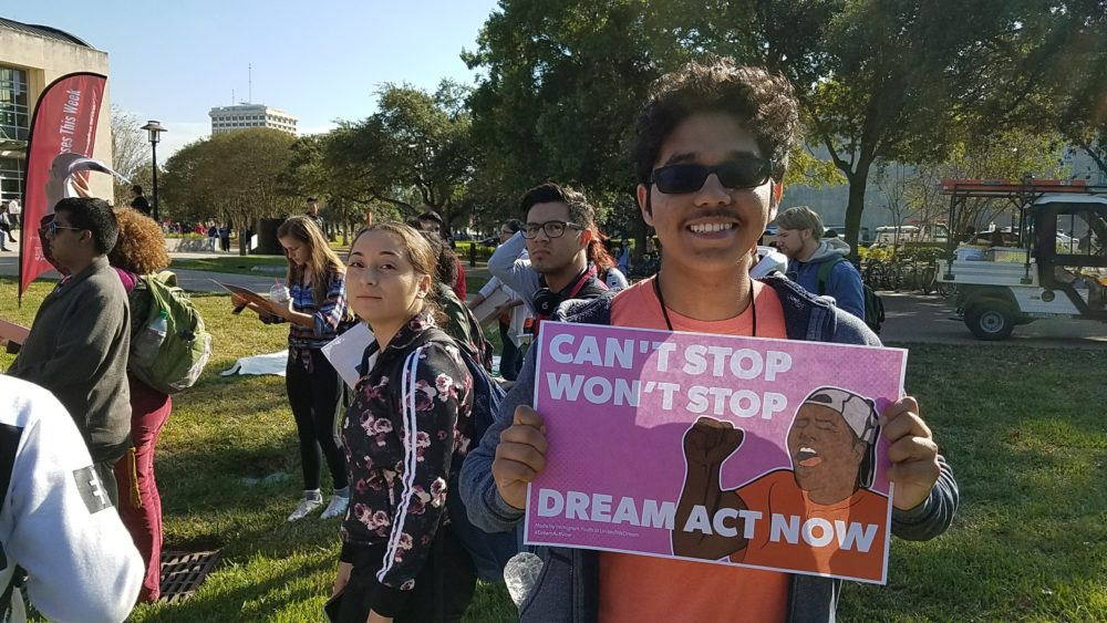 Several DACA recipients and supporters of the DREAM Act gathered at the University of Houston's main campus on November 9, 2017, to ask Congress to pass the law before the end of the year.